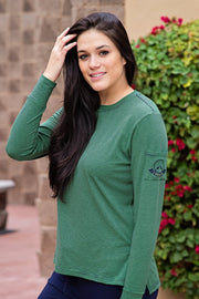 Lakegirl Green-Navy Micro-stripe Long Sleeve Crew Neck Tee