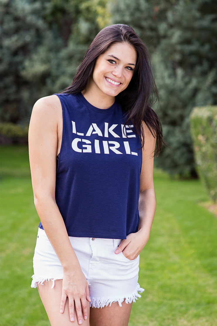 Lakegirl contemporary style tank top, navy with white print.