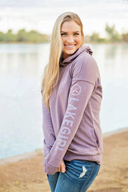 Lakegirl crossover french terry hoodie in plum shadow. A great summer-weight hoodie perfect for evenings at the lake.