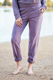 Lakegirl plum shadow french terry sweatpants with tonal embroidery. Soft and comfy, perfect for lounging at the lake.