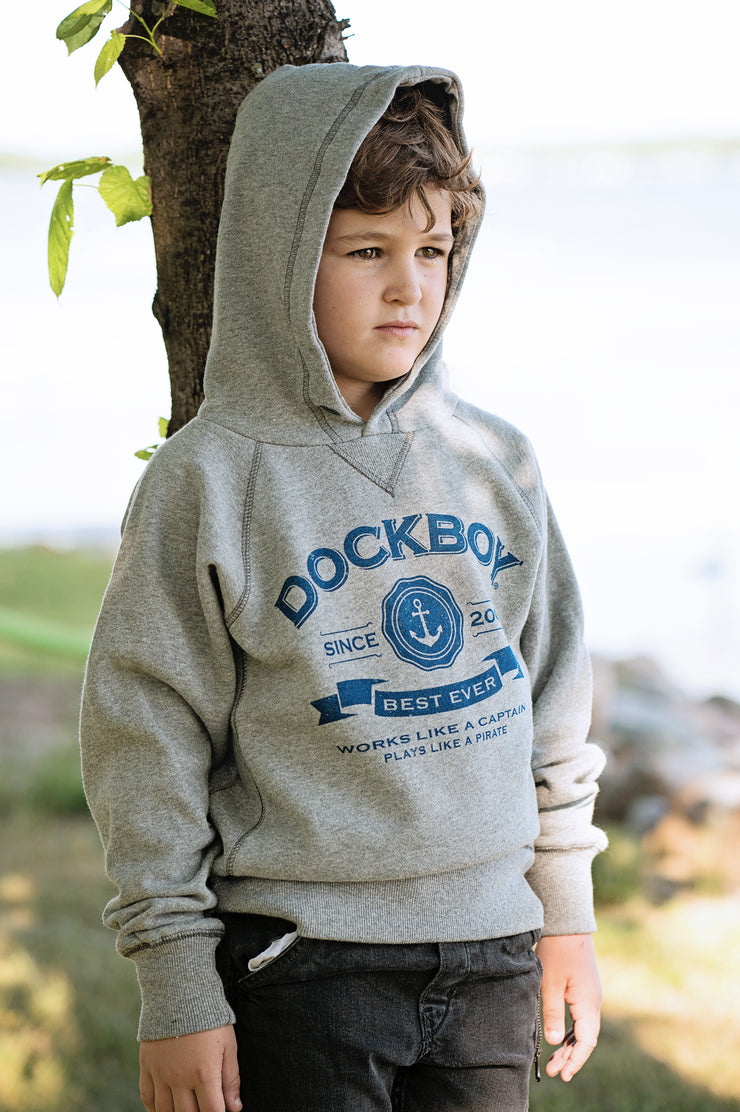 Dockboy by Lakegirl. Boy's grey pullover hoodie. Works like a captain, plays like a pirate.