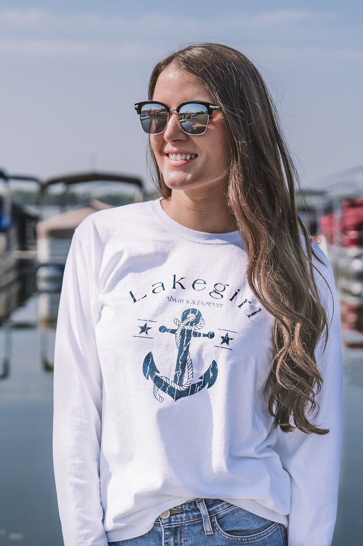 Lakegirl Always & Forever Anchor long sleeve t-shirt, women's relaxed fit, 100% cotton. Life is better at the Lake.