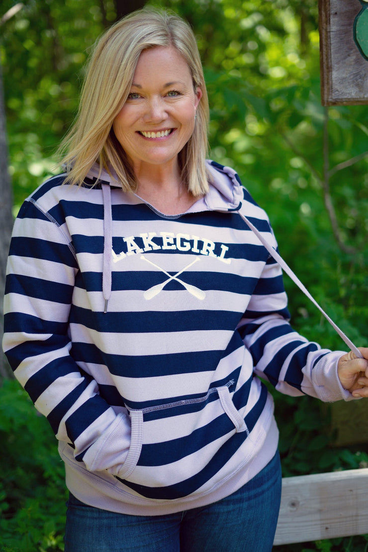 Lakeside Stripe Hoodie Navy & Thistle