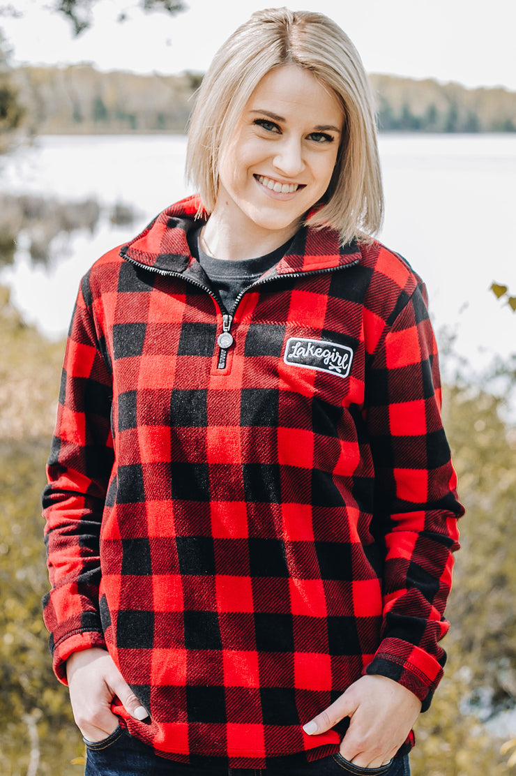 Buffalo Plaid Fleece Half Zip