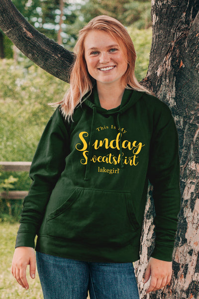 Lakegirl Ringspun Fleece Sunday Sweatshirt - Green and Gold
