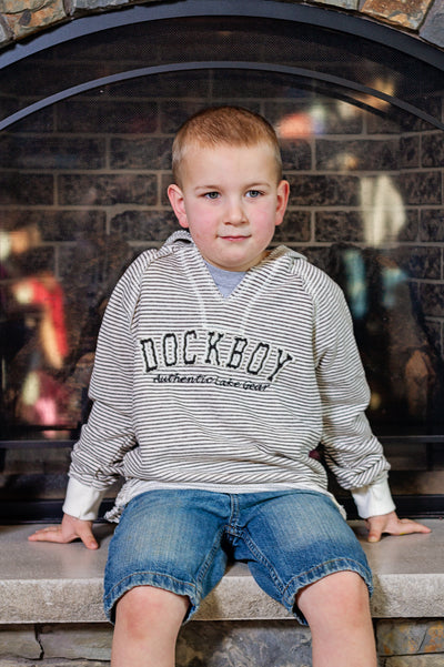 Dockboy by Lakegirl. Our popular weekender hoodie for boys. Lightweight french terry pullover.