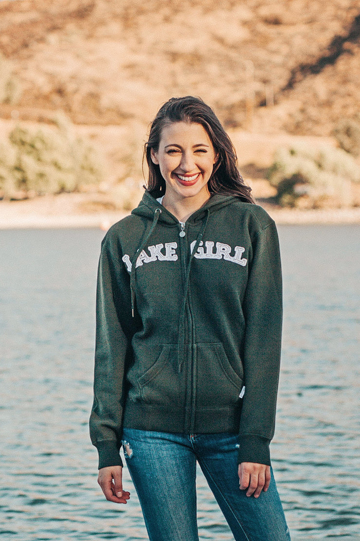 Lakegirl Classic full zip hoodie, forest night green with white applique across front. The perfect sweatshirt jacket for an evening on the boat.