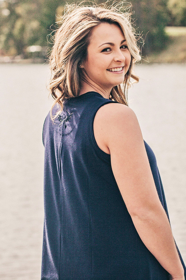 Navy Sleeveless Swing Dress