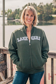 Lakegirl forest night green and white classic full zip track jacket sweatshirt.