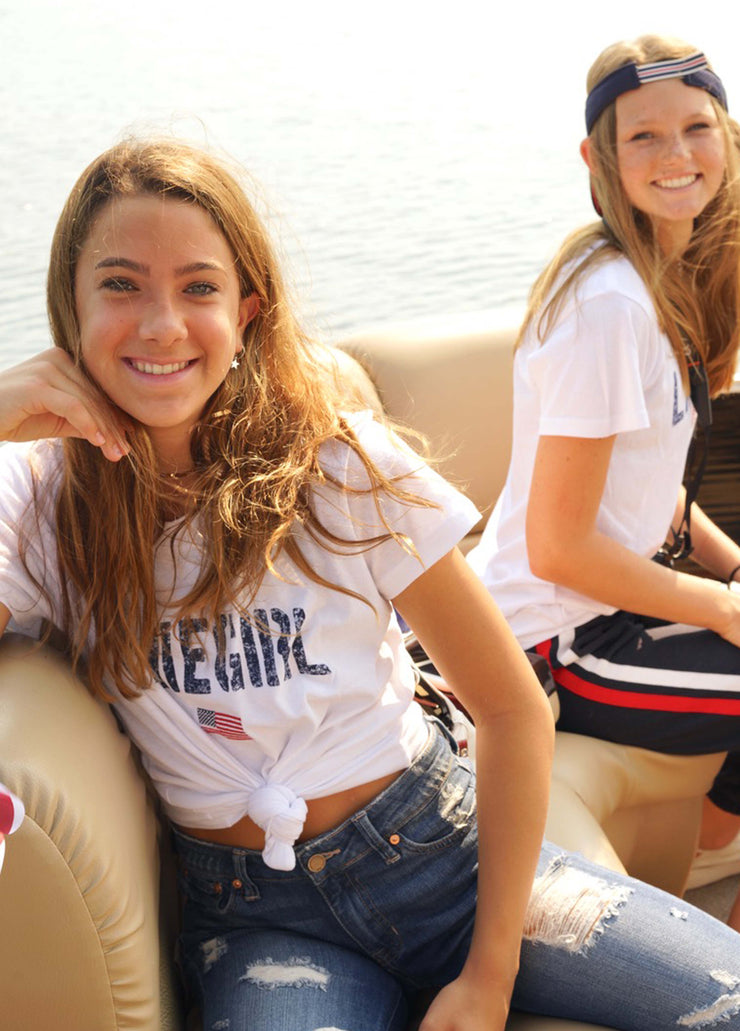 Lakegirl Youth Relaxed Flag Tee_WHITE TY214WH