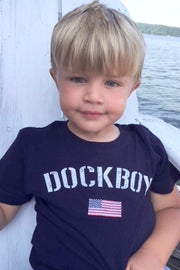 Dockboy by Lakegirl. Boy's short sleeve navy patriotic flag t-shirt.