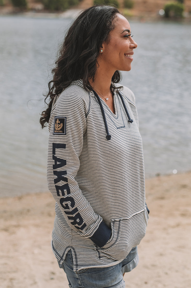 Navy Weekender Striped Hoodie