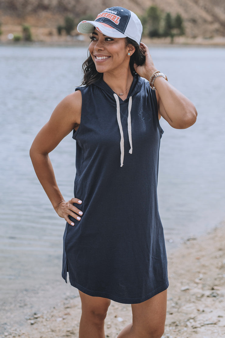 Navy Sleeveless Hooded Dress