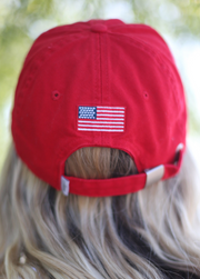 Lakegirl All American baseball style cap, low profile, adjustable back closure, 100% cotton twill.