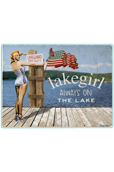 Lakegirl Always On The Lake patriotic vintage pinup wooden sign. Decorate your lake house.