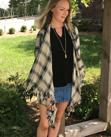 Plaid Cut Out Cardigan