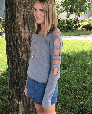 Grey Sweater Cut Out