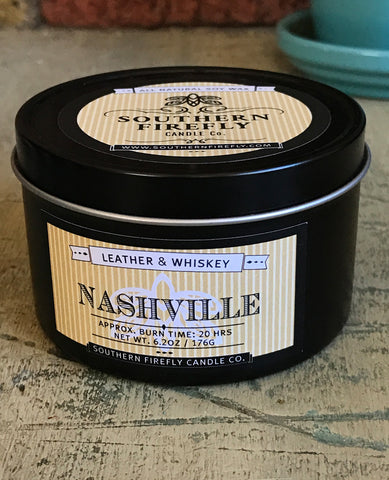 Nashville Leather and Whiskey 8oz Travel Tin By Southern Firefly