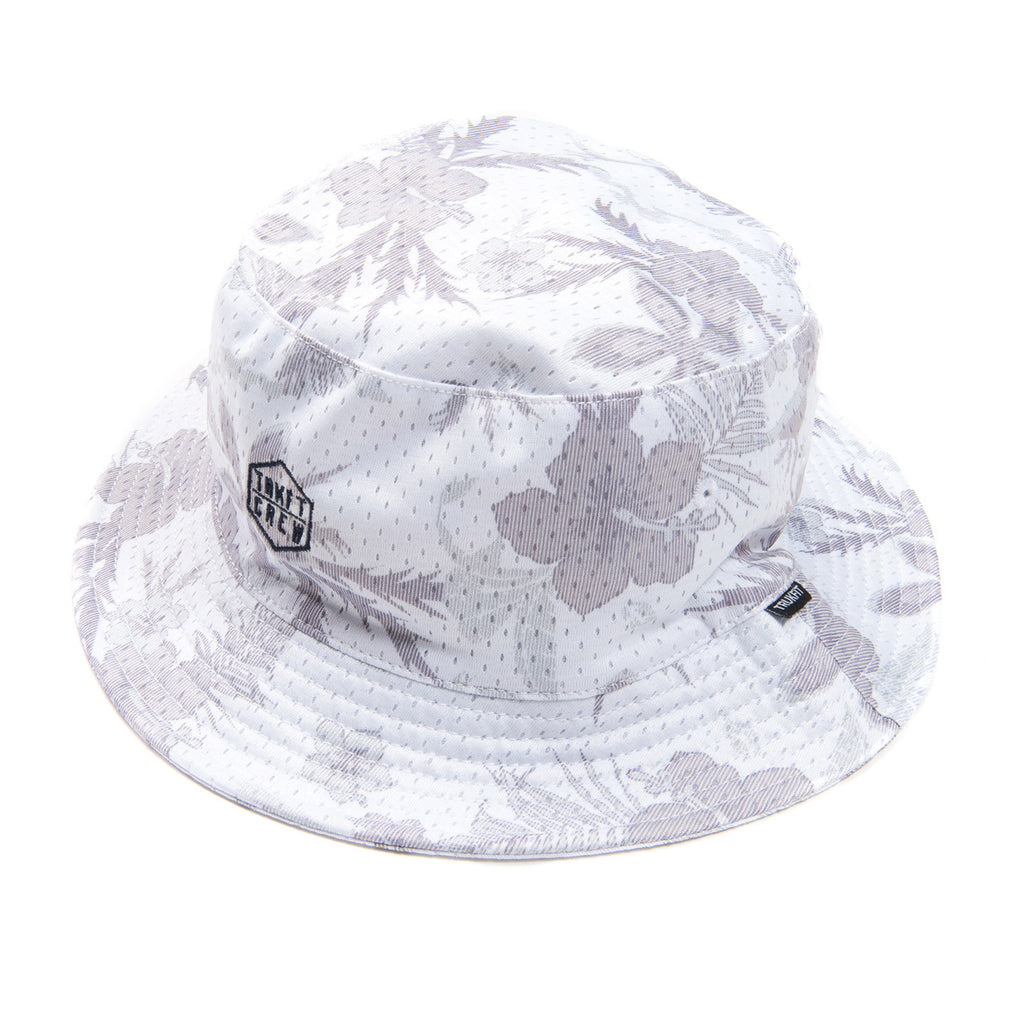 WHITE FLORAL BUCKET HAT
