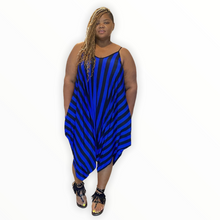 Load image into Gallery viewer, Black and Blue Striped Harem Jumpsuit - Jumpsuits & Rompers