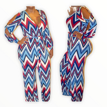 Load image into Gallery viewer, New Chevron Print Open Sleeve Jumpsuit - Small - Jumpsuits &