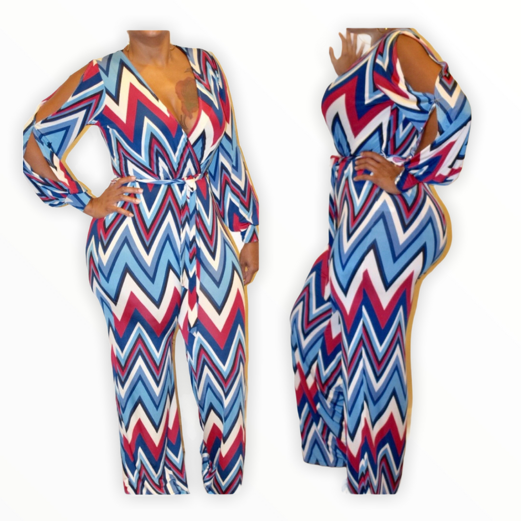 New Chevron Print Open Sleeve Jumpsuit - Small - Jumpsuits &