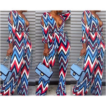 Load image into Gallery viewer, New Chevron Print Open Sleeve Jumpsuit - Fabulously Dressed Boutique