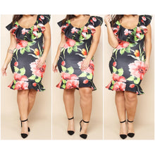 Load image into Gallery viewer, New Floral Black Bodycon Ruffled Knee Length Dress - Fabulously Dressed Boutique