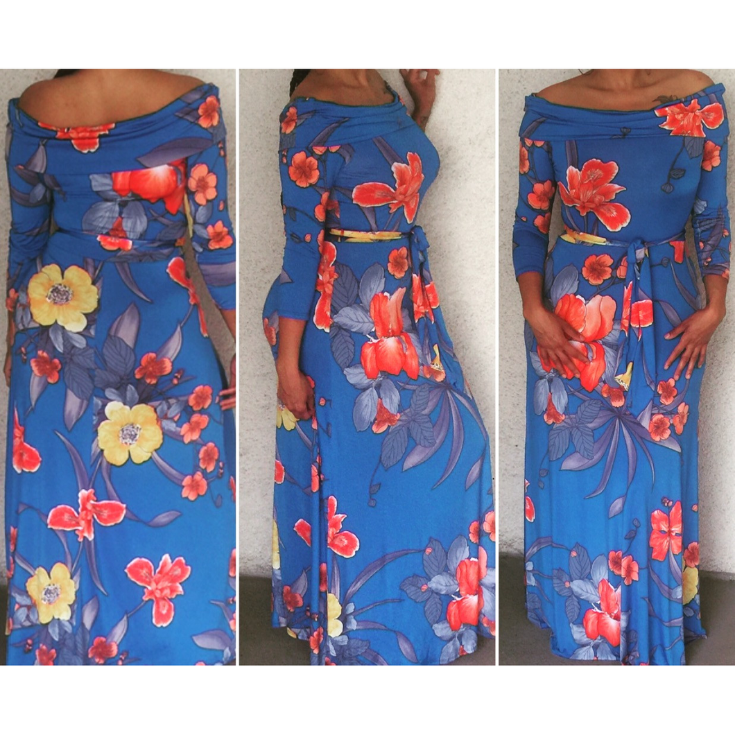 New Off The Shoulder Blue Belted Floral Maxi Dress 3/4 Sleeves Size Medium - Fabulously Dressed Boutique