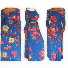Load image into Gallery viewer, New Off The Shoulder Blue Belted Floral Maxi Dress 3/4