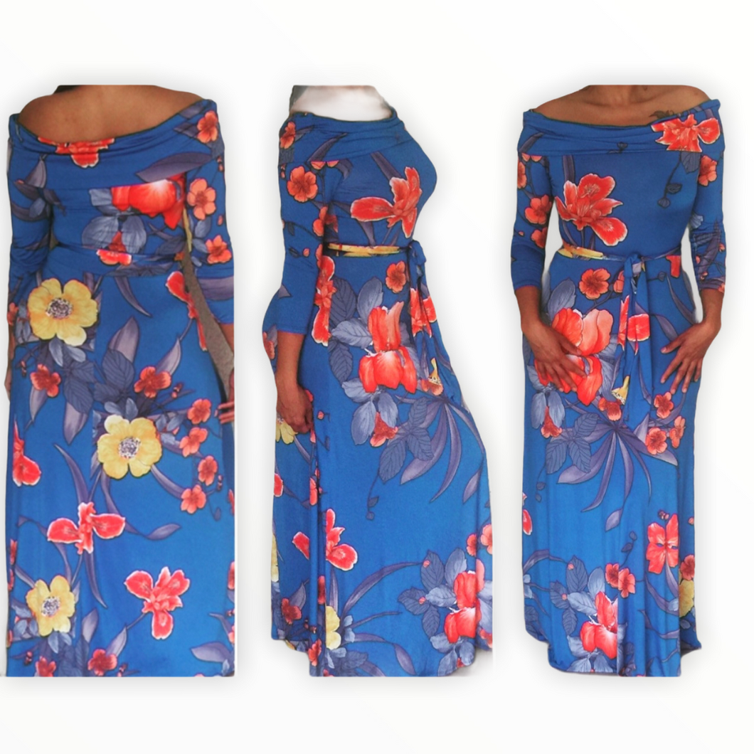 New Off The Shoulder Blue Belted Floral Maxi Dress 3/4
