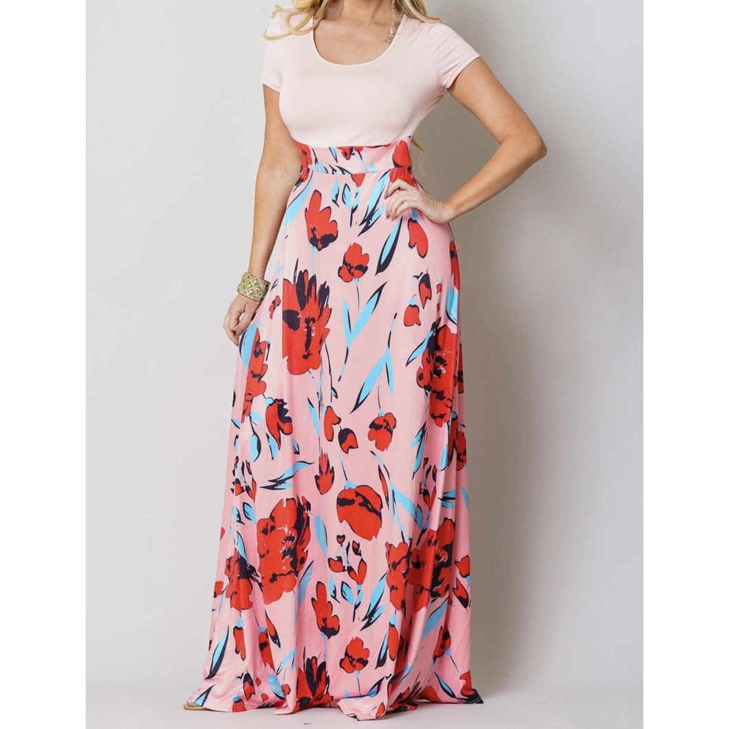 New Pink Floral Color Block Maxi Dress - Fabulously Dressed Boutique