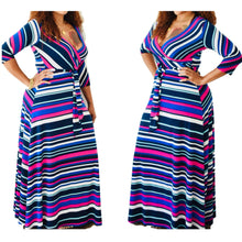 Load image into Gallery viewer, New Vibrant Striped Belted Faux Wrap Maxi Dress - Fabulously Dressed Boutique