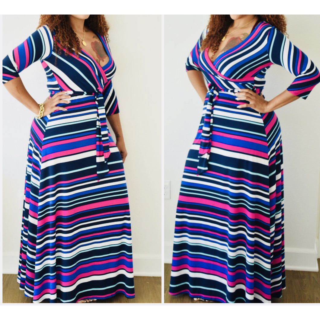 New Vibrant Striped Belted Faux Wrap Maxi Dress - Fabulously Dressed Boutique