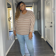 Load image into Gallery viewer, Plus Size Taupe Striped Dolman Sleeve Top - Taupe / 1X -