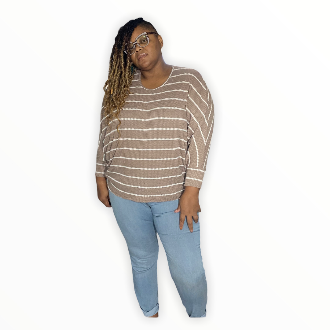 Plus Size Taupe Striped Dolman Sleeve Top - Plus size tops