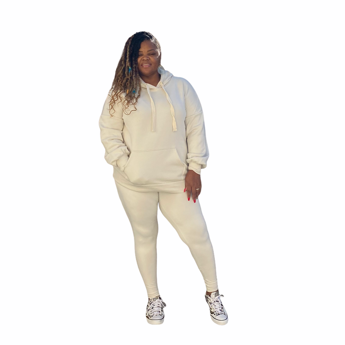 The Bone Hooded Sweatshirt Legging Set - Bone / 2X - Curvy