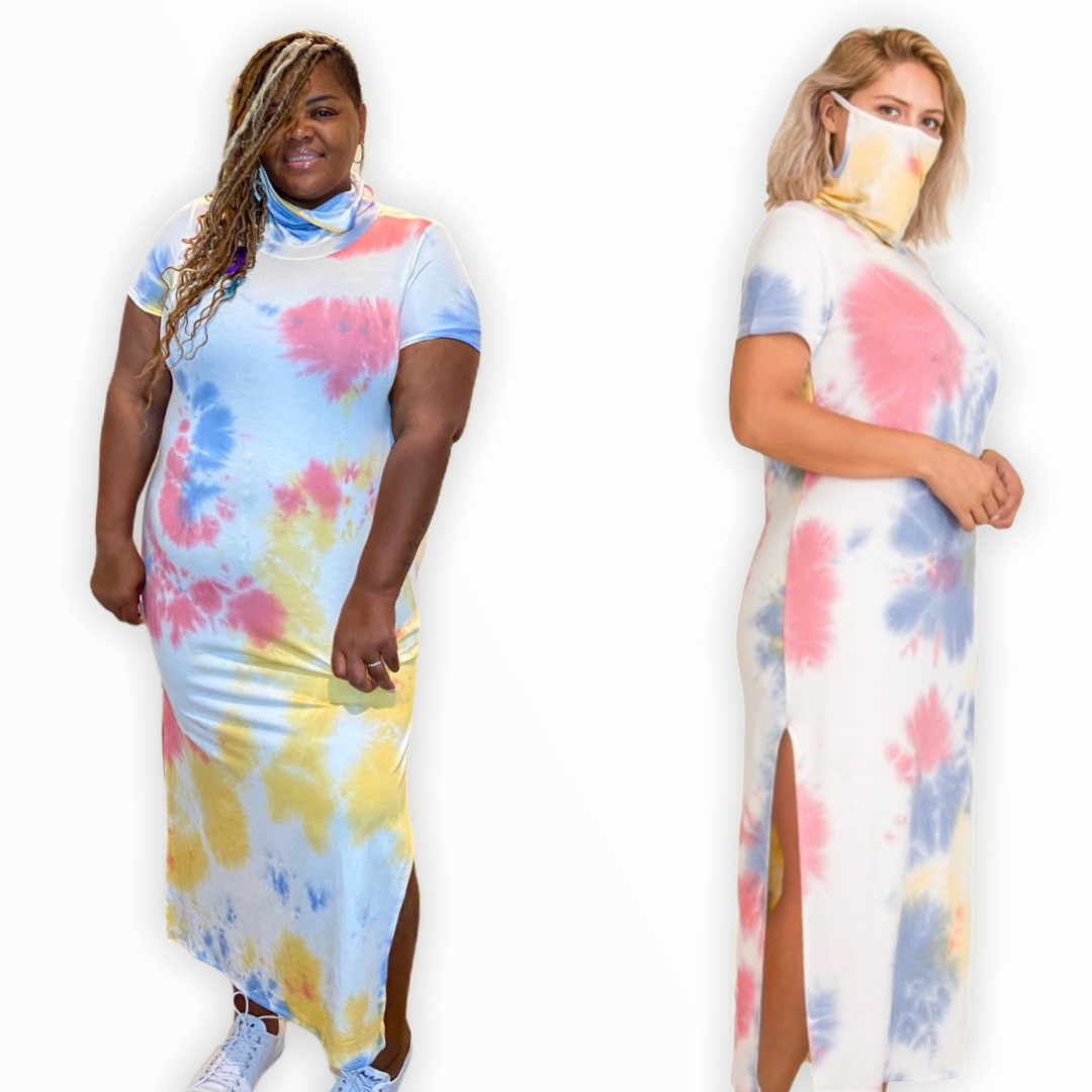 The Cara Tie Dye Dress With Attached Mask - Curvy dresses