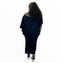 Load image into Gallery viewer, The Dana Black Draped Maxi Dress - Curvy dresses