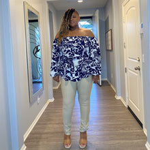 Load image into Gallery viewer, The Hazel Navy Off The Shoulder Top - Navy / 1X - Plus size