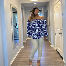 Load image into Gallery viewer, The Hazel Navy Off The Shoulder Top - Plus size tops