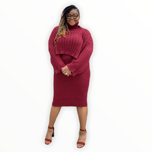 "Load image into Gallery viewer, ""The Kara 2 Piece Burgundy Knit Dress Set - Dresses"