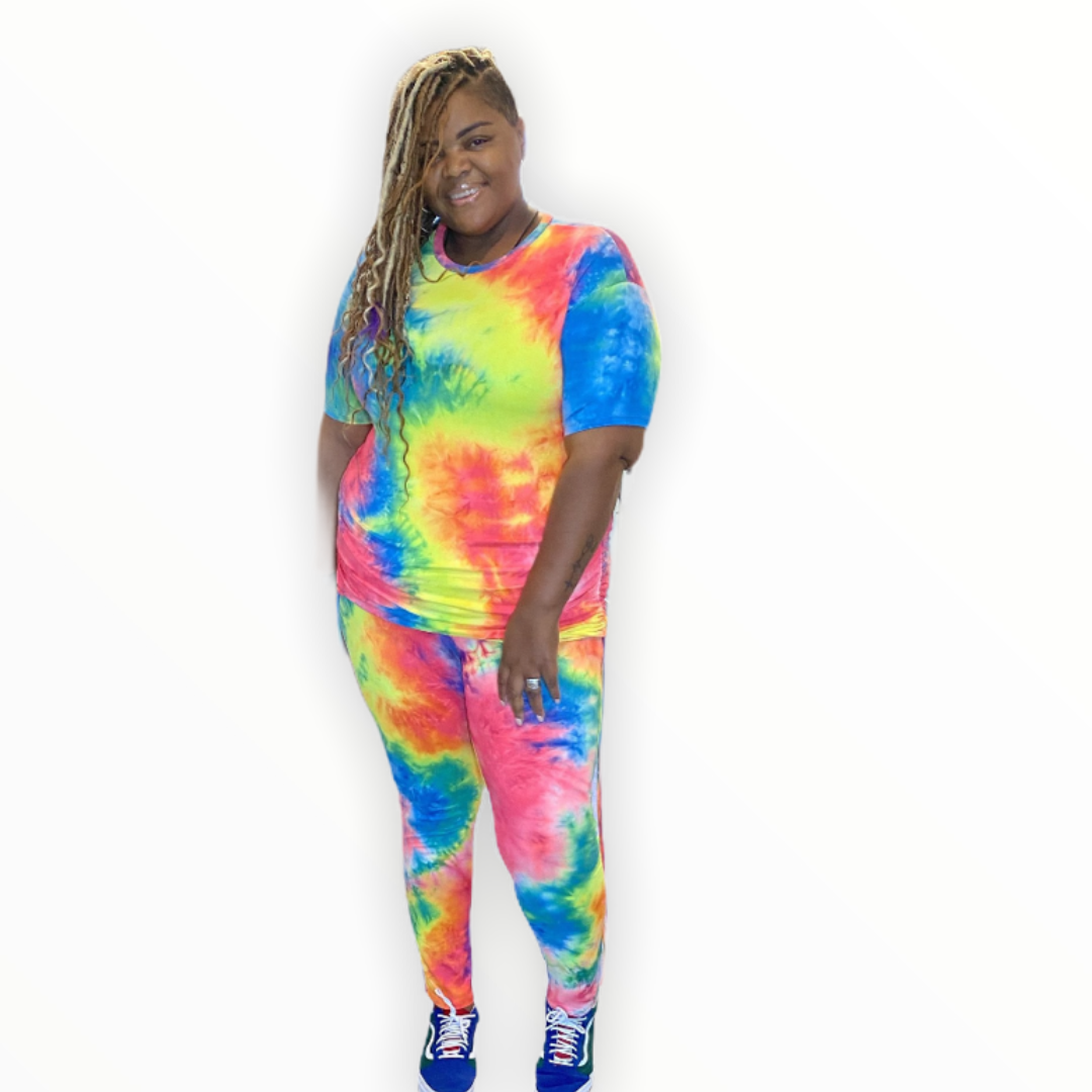 The Kayla Tie dye leggings set - Plus size set