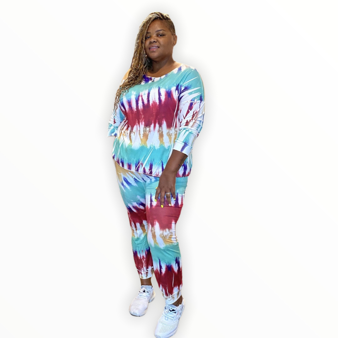 The Mutilcolored Tie Dye Jogging Set - Curvy Set
