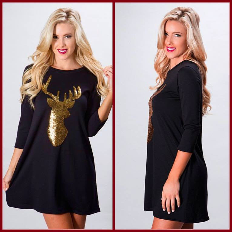 Black Sweater Dress with Gold Sequin Reindeer