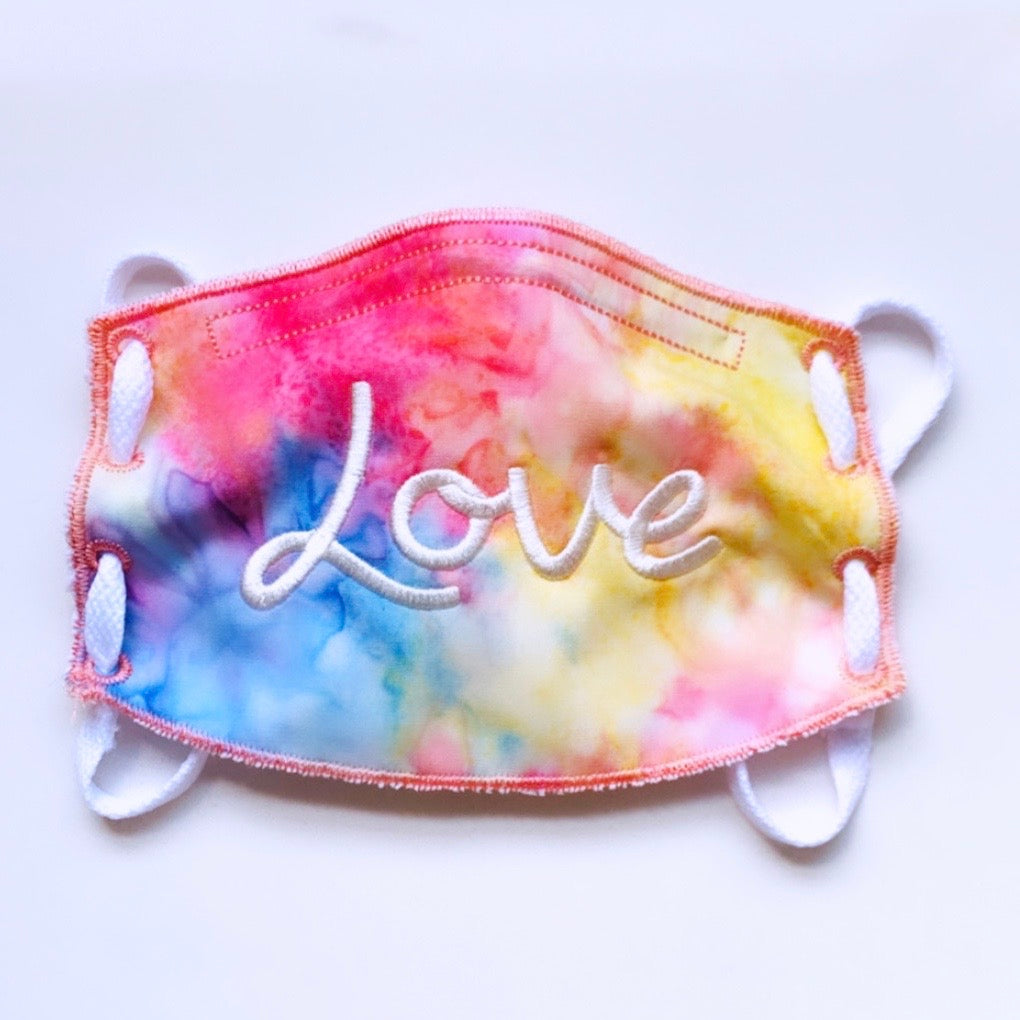Adult Face Mask- Tie-Dye- Love