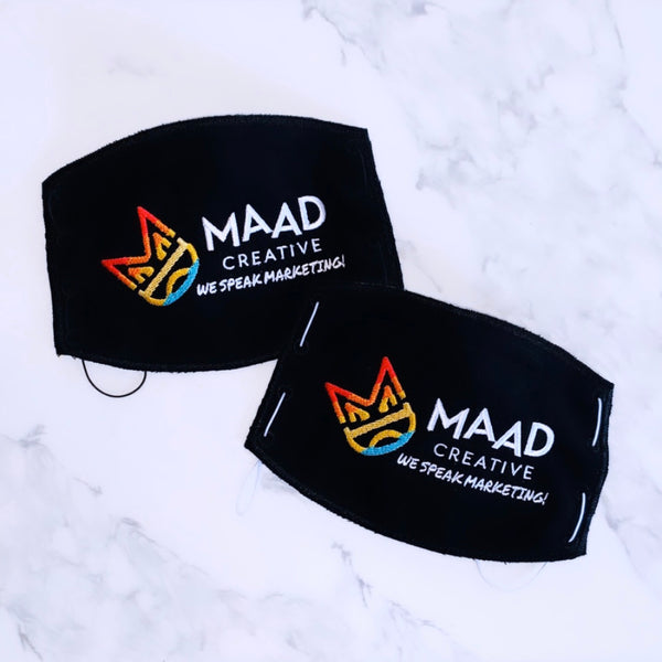 Adult Face Mask- Black- MAAD Creative