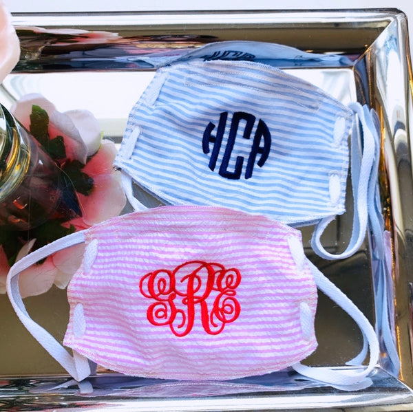 Adult Face Mask-Seersucker-Monogram