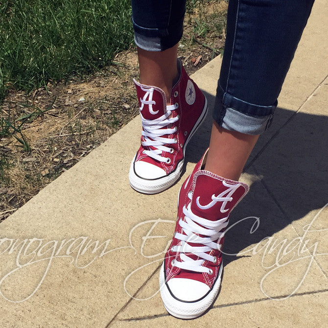 Customized Converse Sneakers- Alabama Edition (Dark Red )