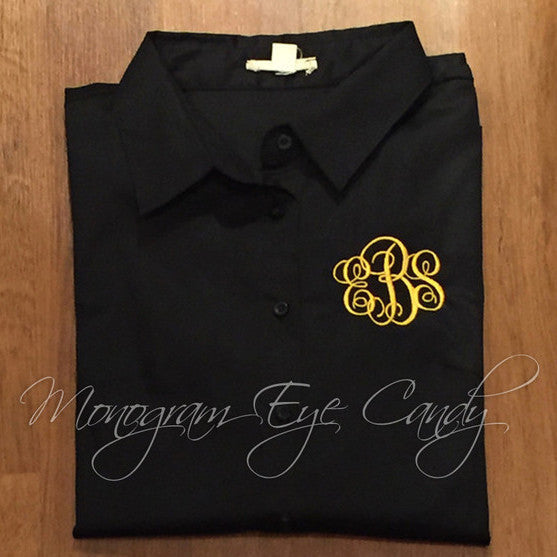 Monogram Button Down Shirt- Choose Your Color